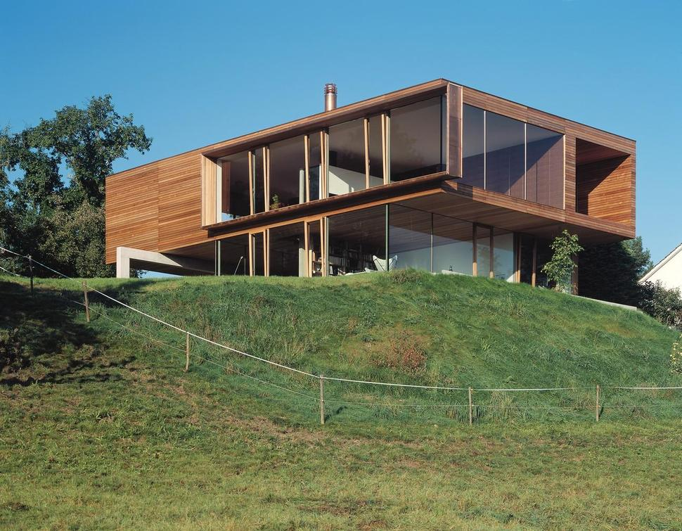 View in gallery glass walled hilltop house with private wooden upper volume  2 from below thumb 630xauto 34339 Simple