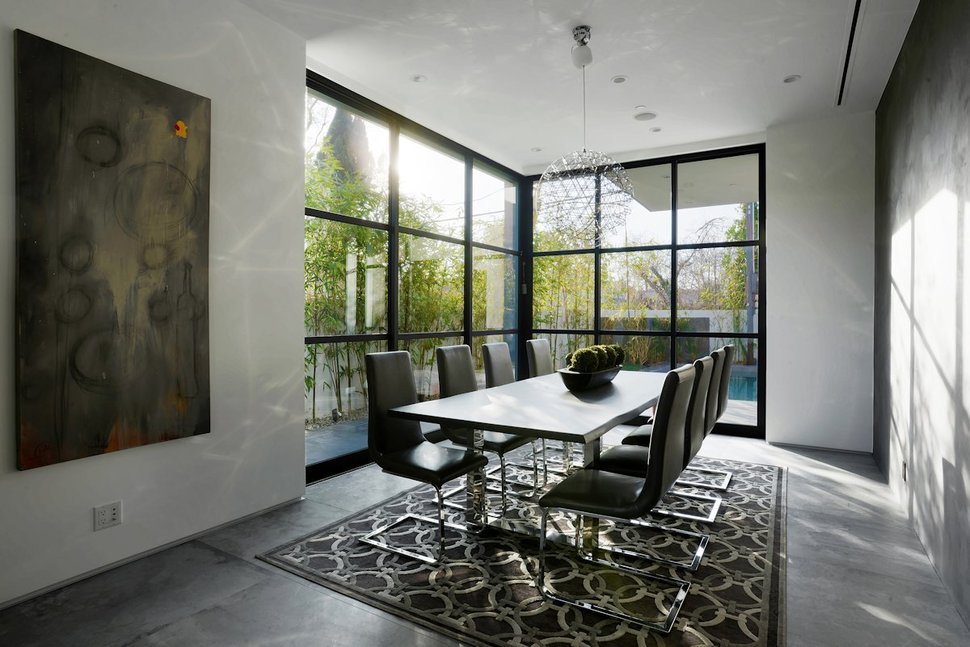 View in gallery contemporary home pool black white iterior 6 dining