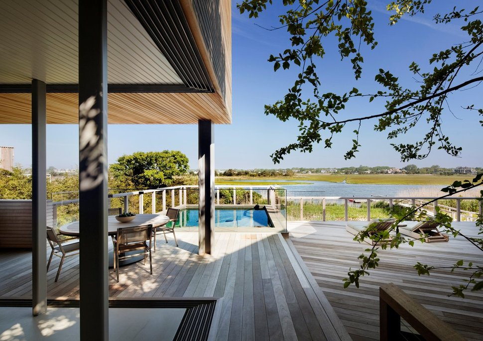 Wooden Waterfront House Featuring BuiltIn Patio - The patio westhampton