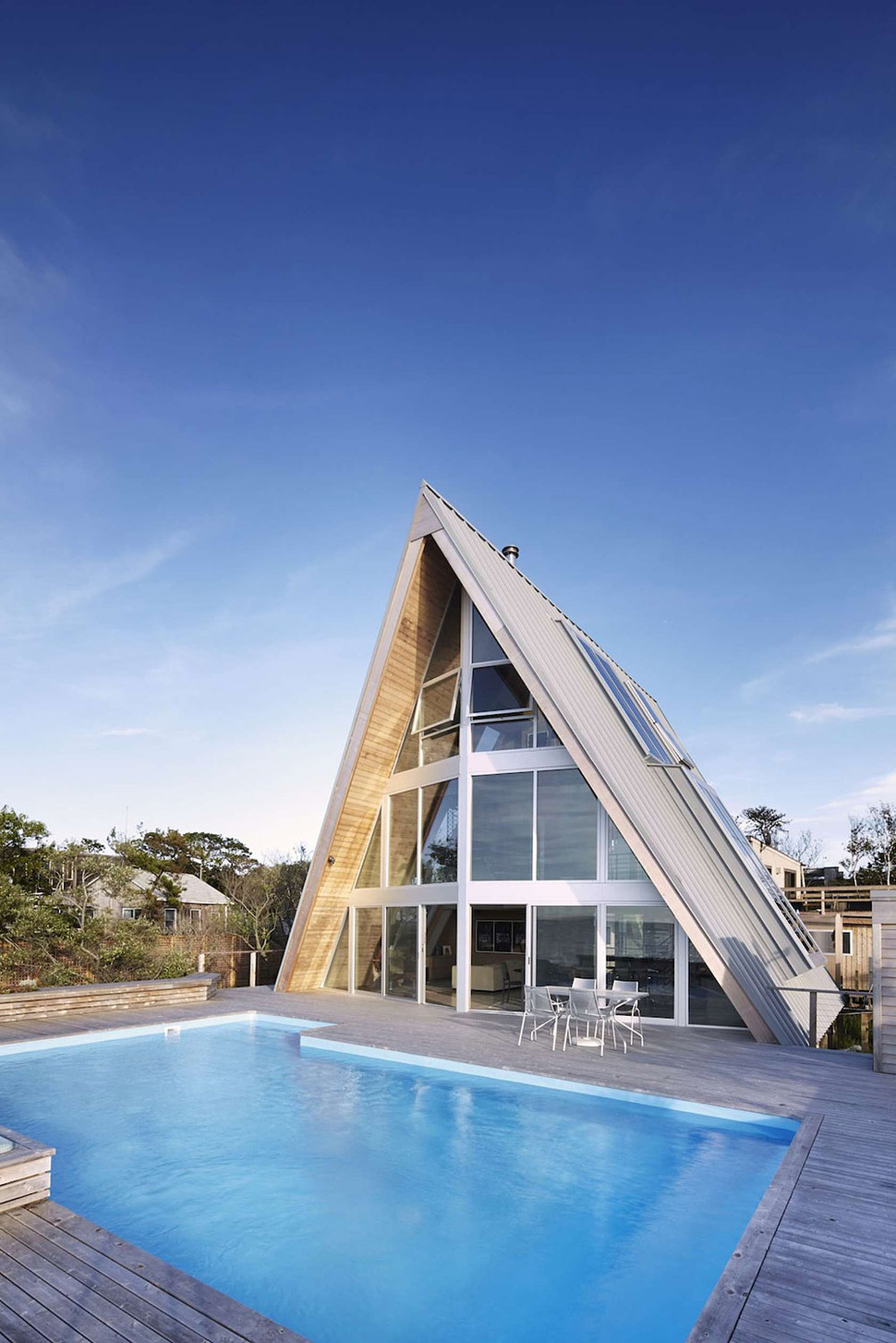 Beachfront A Frame House With Wide Open Interior