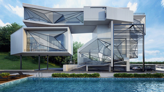 contemporary lakeside home faceted windows cantilevered volumes 1 exterior thumb 630xauto 40137 Lakeside Home has Faceted Windows on Cantilevered Volumes