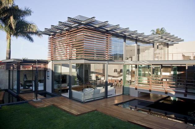 glass steel renovation with bedroom bridge 2 yard angle day thumb 630xauto 38221 Glass And Steel Renovation With Bedroom Bridge