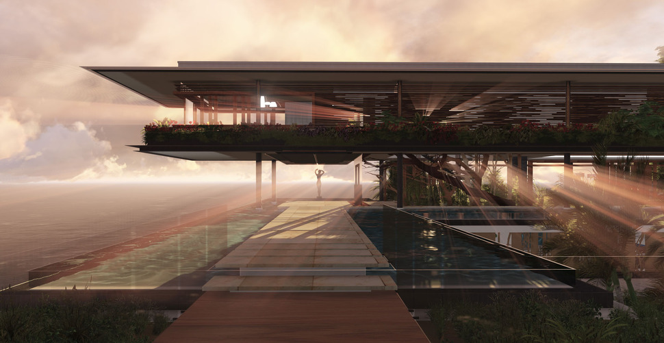 Poetic home design concept perches on cliff overlooking sea for Modern house design concept