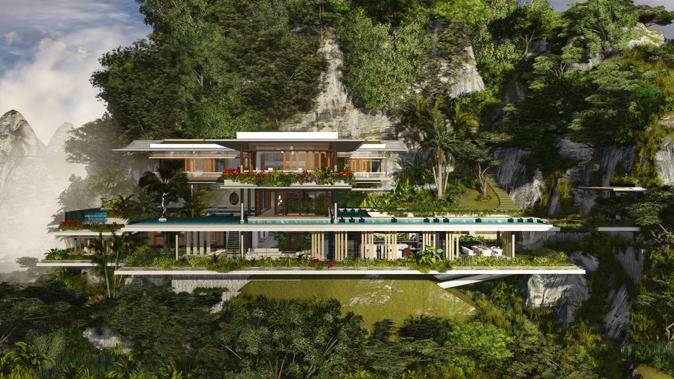 Superb View In Gallery Poetic Home Design Concept Perches Cliff Overlooking Sea