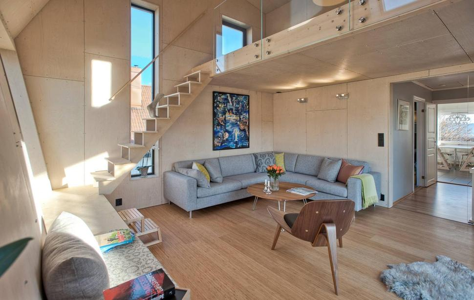 Beautiful View In Gallery Angular Home Addition With Plywood Lined Interior 6