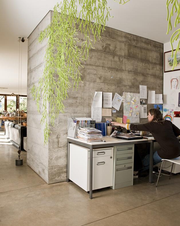 prefab-concrete-farmhouse-cypress-slab-table-salvaged-branch-crystal-chandelier-16-office.jpg