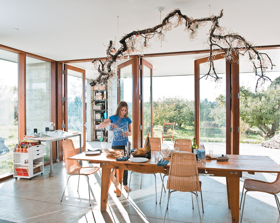 Crystal Chandelier For Dining Room organza silk drum shade crystal chandelier traditional dining room View In Gallery Prefab Concrete Farmhouse Cypress Slab Table Salvaged Branch