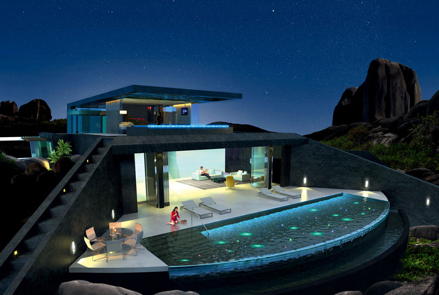 home infinity pool glass bottomed pool rendered 3d 1 social thumb 630xauto 43486 Home with Infinity Pool and Glass Bottomed Pool Rendered in 3D