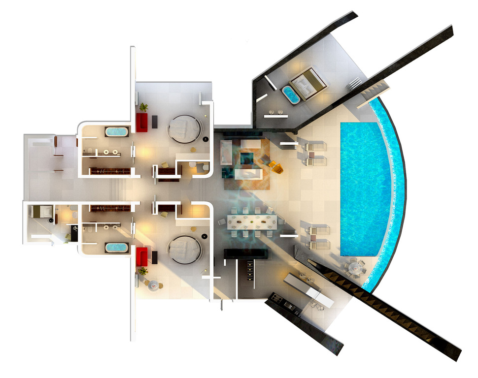 House Plans With Pool House | Home With Infinity Pool And Glass Bottomed Pool Rendered In 3d