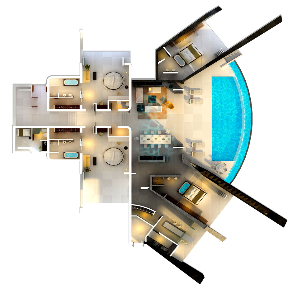 Home with infinity pool and glass bottomed pool rendered in 3d - Home design d apk ...