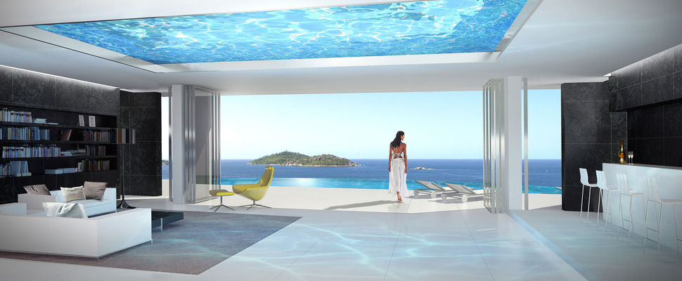 Home with infinity pool and glass bottomed pool rendered in 3d for Pool design honolulu