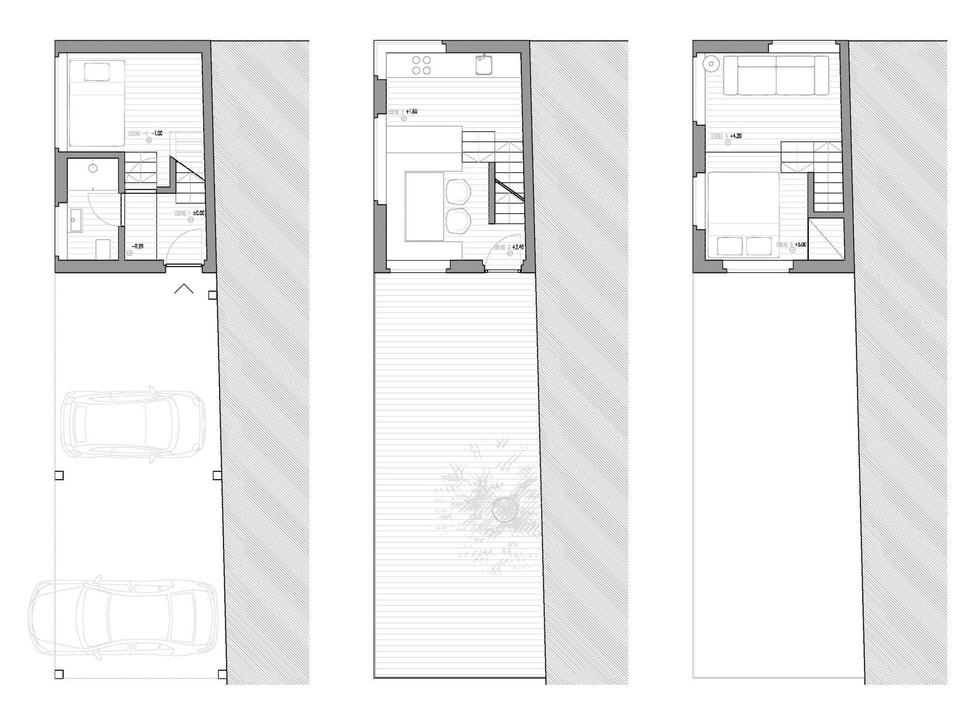 Tiny barn conversion zigzags rooms vertically for Barn conversion floor plans