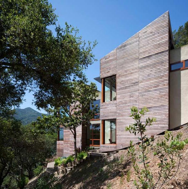Living Roof On Slope House Merges Beautifully With