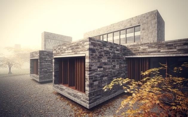 6 minimalist homes stacked crisscrossed masonry volumes 1 thumb 630xauto 47958 Stonework House Design with Bamboo Growing Inside
