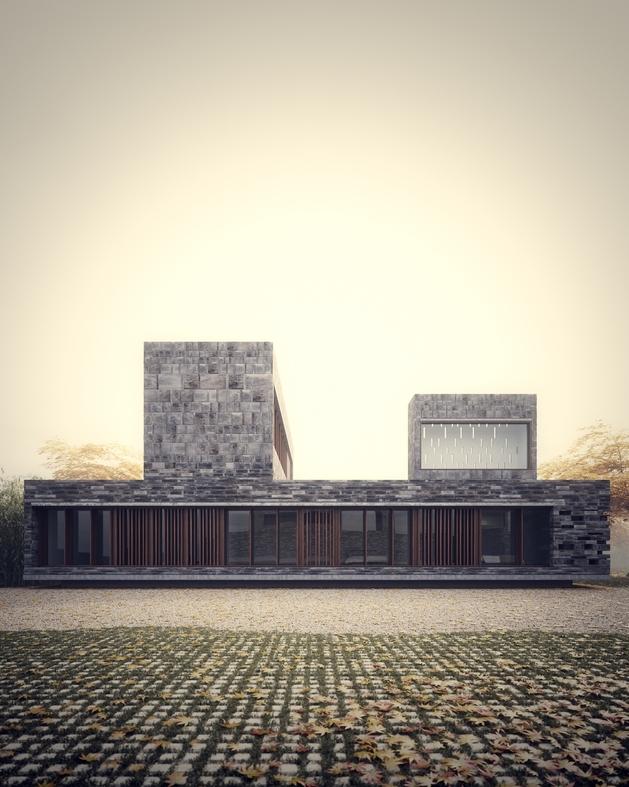 6 minimalist homes stacked crisscrossed masonry volumes 2 thumb autox787 47960 Stonework House Design with Bamboo Growing Inside