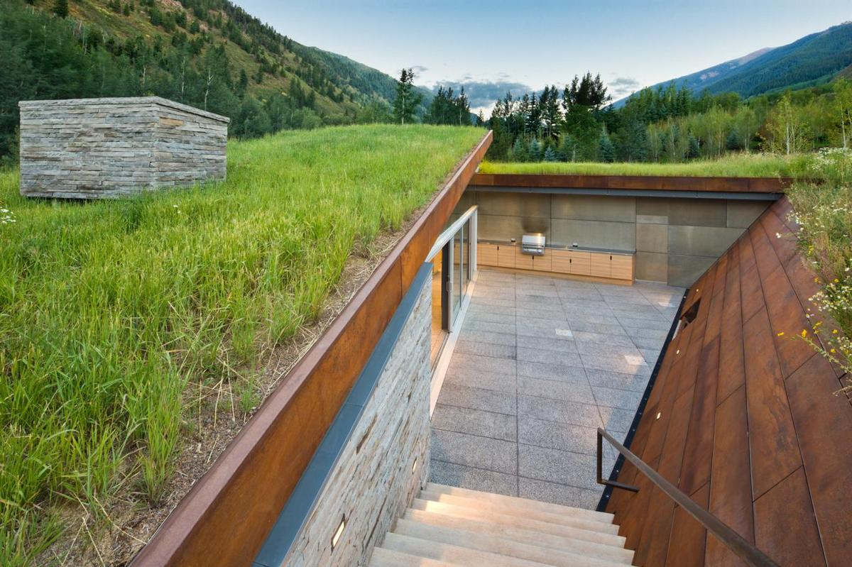 Sustainable home with 2 landscaped roofs conceals private for 10180 old well terrace
