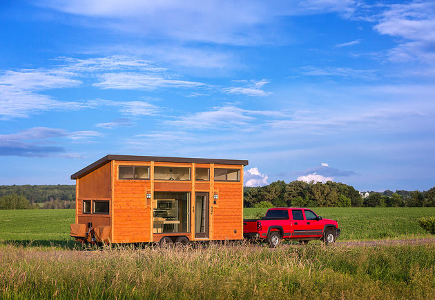 tiny home on trailer escape homes traveler 1 thumb 630xauto 54990 This Tiny Home On A Trailer Is Styled After Famous Wisconsin Vacation Cottages: the new Escape Traveler