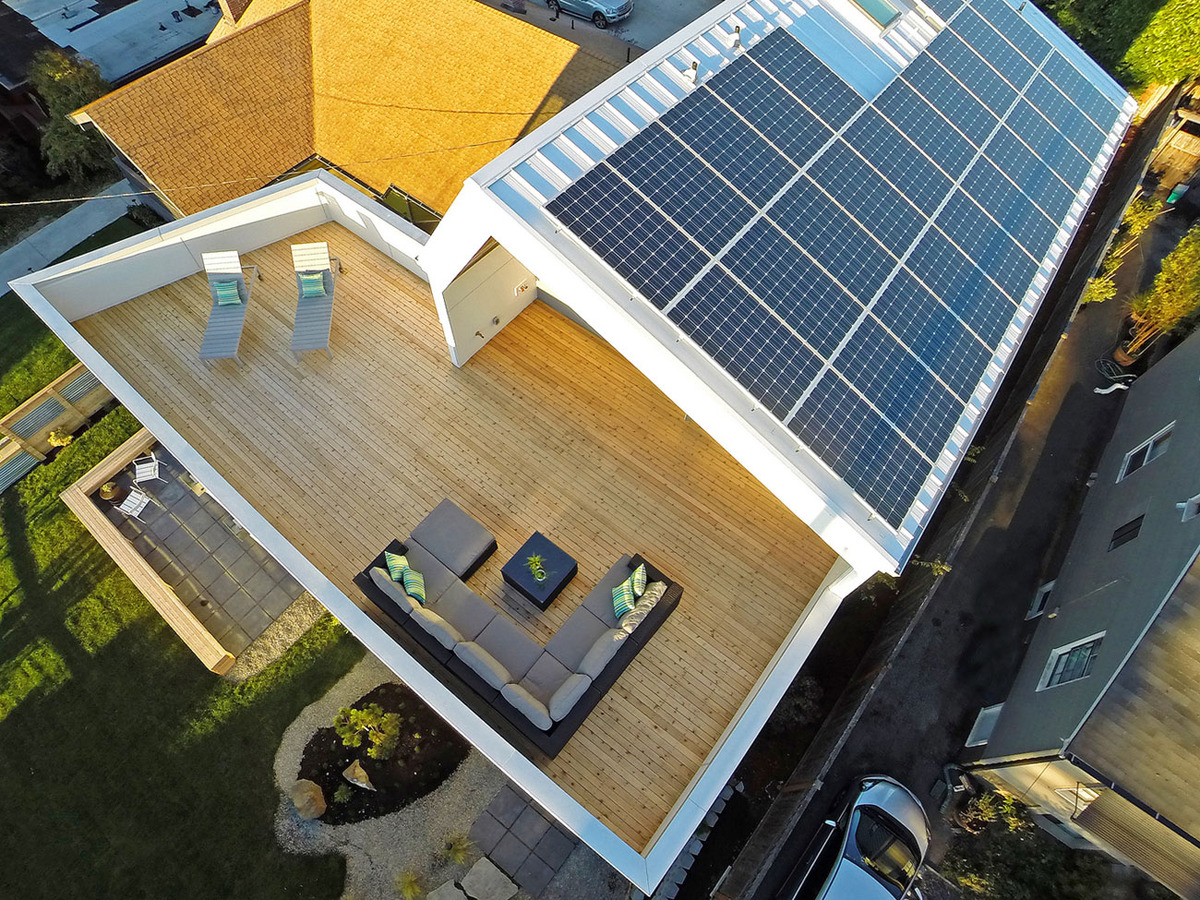 Unexpected roof design for solar panels in this net zero home for Solar powered home designs