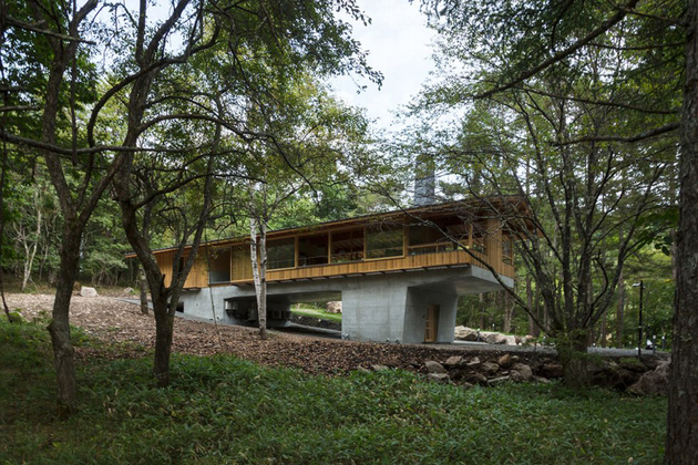 1 concrete plinths elevate woodland house bridge thumb 630xauto 65168 Concrete Plinths Elevate Woodland House Like a Bridge