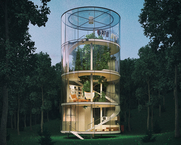 tubular glass house built around tree 1 thumb 630xauto 65496 Tubular Glass House Gets Second Life from Solar Panel Manufacturer