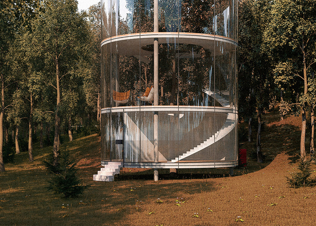 tubular glass house built around tree 3 thumb 630xauto 65493 Tubular Glass House Gets Second Life from Solar Panel Manufacturer