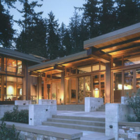 Beautiful house of wood, stone and steel on Bainbridge Island