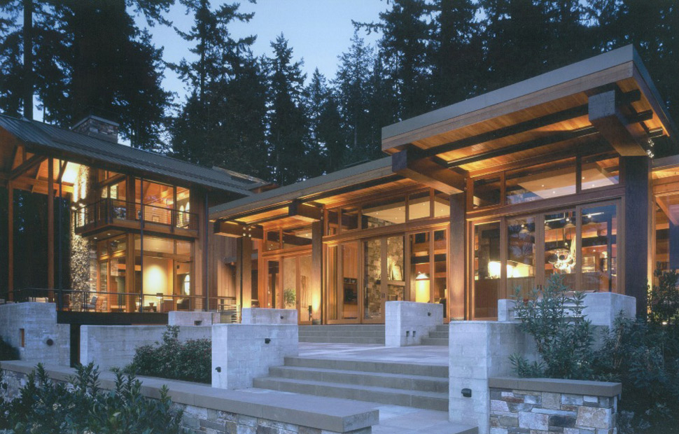 Beautiful house of wood stone and steel on bainbridge island - Three wooden house plans ...