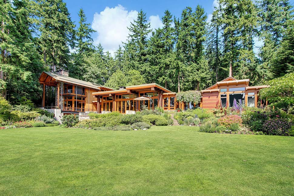 Wood And Stone House beautiful house of wood, stone and steel on bainbridge island