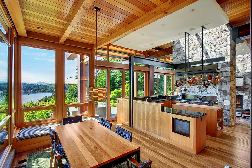 Beautiful house of wood stone and steel on bainbridge island for Pictures of beautiful houses interior