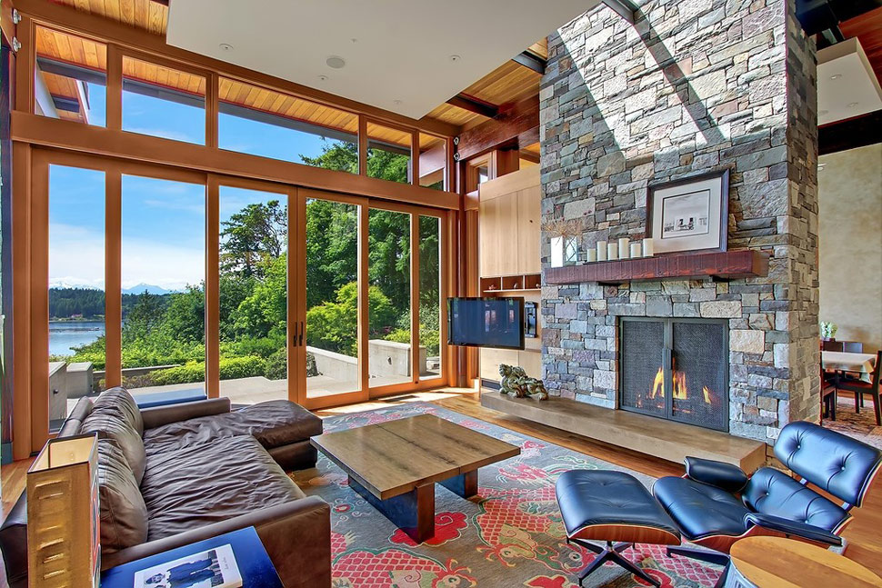 Beautiful House Of Wood Stone And Steel On Bainbridge Island