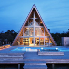Beachfront A-Frame House With Wide Open Interior