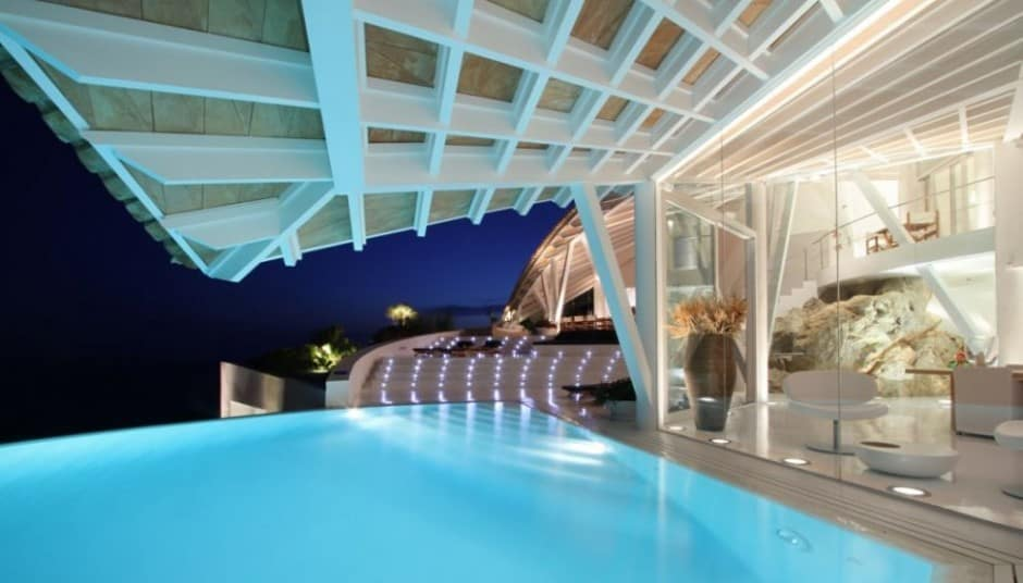 Bird house in mallorca with wings and luxury decks for House look from outside