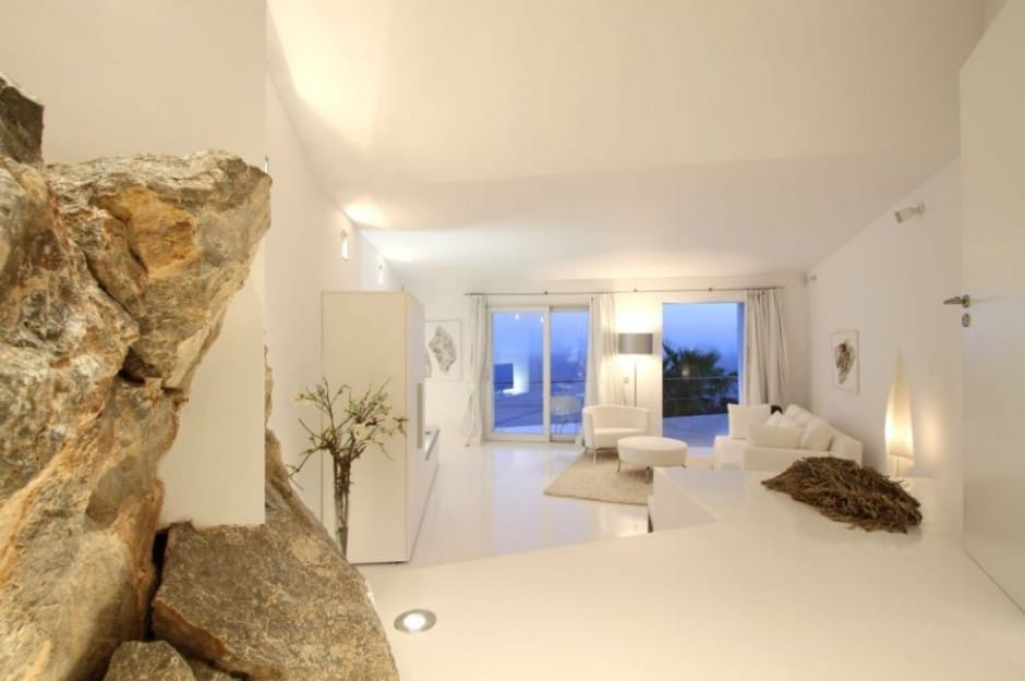 Bird House In Mallorca With Wings And Luxury Decks on Modern Living Room With Wood Floors