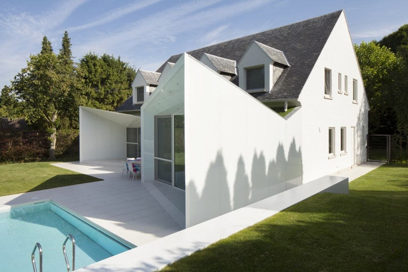 Black And White Belgium House With Modern Sculptural Additions