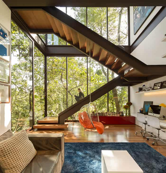 Alfresco Home with Two Decks and Wood Ceiling Interiors