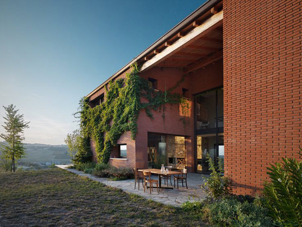 Brick Countryside Home in Italy with Central Courtyard for Entertaining