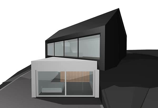 Fabi Architekten cantilevered dual volume house in black and white