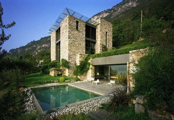 casa lago 6 Italian Stone House with rustic appeal on Lake Como, by architect Arturo Montanelli