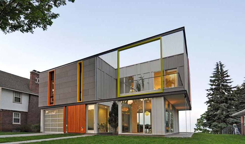 Wisconsin country home with an upper level open air terrace for Building a house in wisconsin