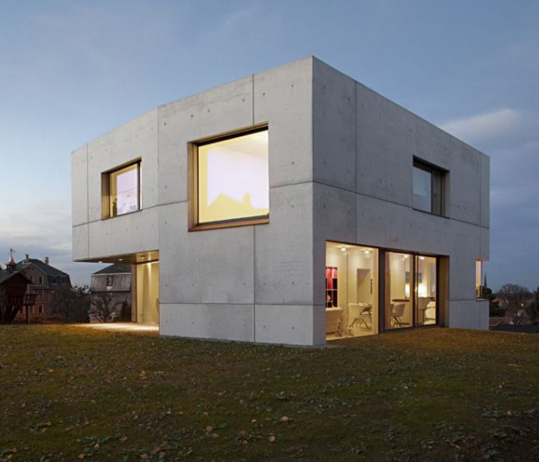 Concrete home designs minimalist in germany for Cement home plans