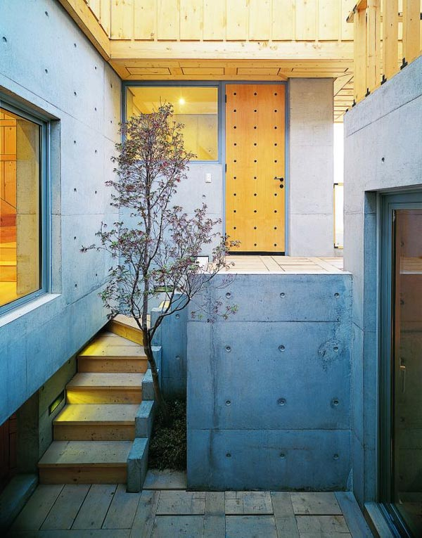 concrete wood architecture house courtyard design 3