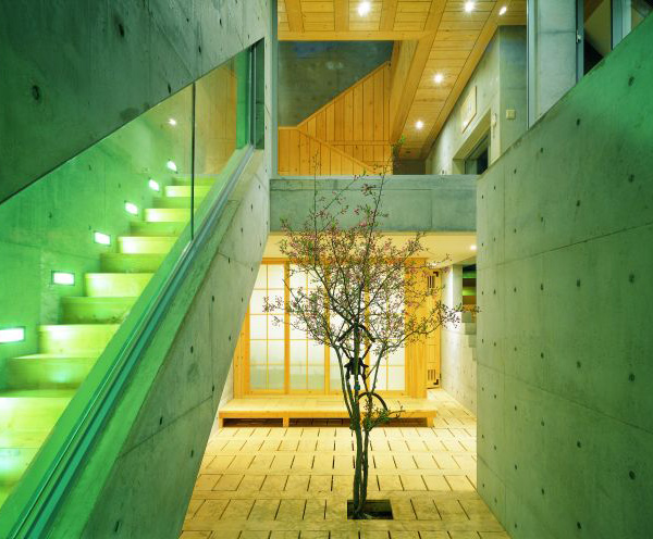 concrete wood architecture house courtyard design 8