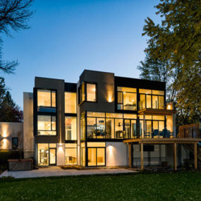 Contemporary Style House Designed with Nature in Mind: Glass walls and riverfront views