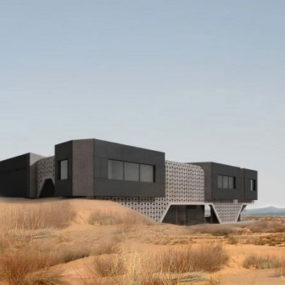 Concrete House Design in China – Nature Inspired Dune Home in Inner Mongolia