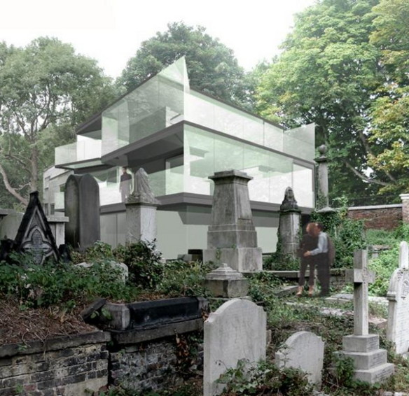 eldridge smerin london house 1 Modern Glass House in London Overlooking Historic Victorian Cemetery