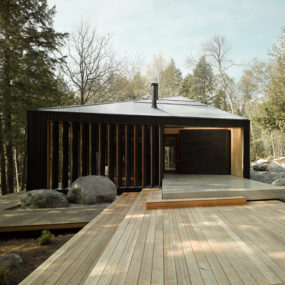 Trapezoid Shaped Cottage with Plywood Interiors