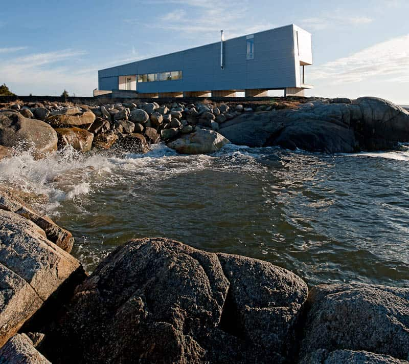 Elongated waterfront house with amazing sea views for Small house designs nova scotia