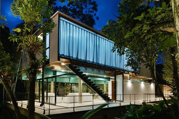 exotic jungle house multi level living glass walls 1 Exotic Jungle House Offers Multi Level Living Behind Glass Walls