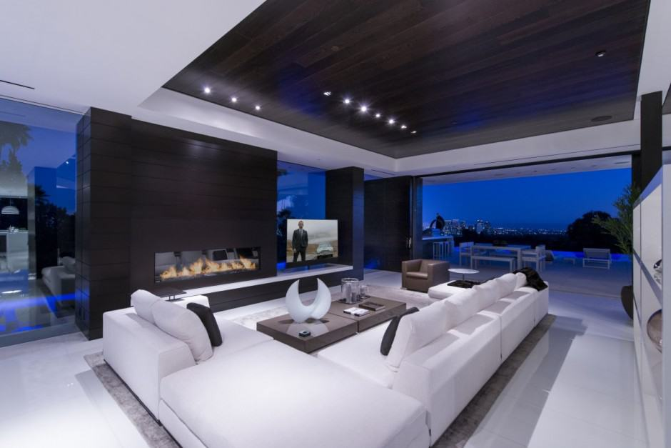 Mansion interior living room with tv  Extravagant Contemporary Beverly Hills Mansion With Creatively ...