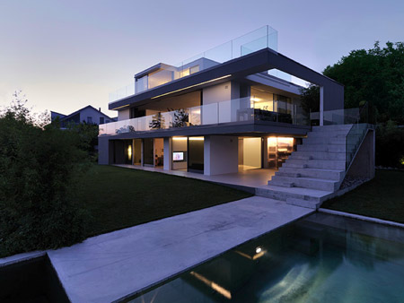 feldbalz house 2 Contemporary House on Lake Zurich, Switzerland   Stylish, Sculptural